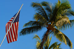 American flag in Hawaii. USA Royalty Free Stock Photos