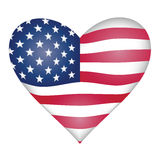 American flag heart. Isolated over white background Royalty Free Stock Photos
