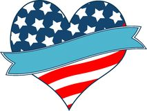 American flag heart. With place for text Stock Photo