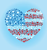 American Flag Heart. A big heart created out of small hearts and colored to look like an American flag Royalty Free Stock Image