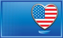American flag heart on blue halftone banner Stock Photo