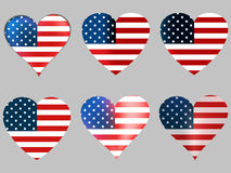 American flag in heart. Collection of hearts with the American flag. Vector Stock Photography