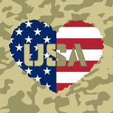 American flag heart military. Independence day USA background with heart-flag. Symbol of 4th july celebration the United State of America. Happy fourth july Stock Image