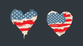 American flag in heart shape, retro, grunge style. American flag in heart shape.  I Love USA red and blue isolated symbol, retro, grunge style. Hand drawing Stock Photos