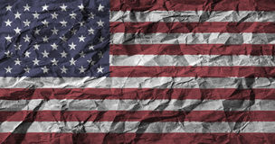 American flag with high detail of crumpled paper .3D illustration . Royalty Free Stock Photos