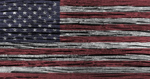 American flag with high detail of old wooden background . 3D illustration Royalty Free Stock Image