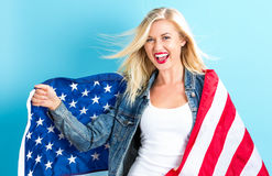 american flag holding woman young Στοκ Εικόνες