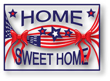 American Flag Home Sweet Home. Illustration showing the American flag in the shape of a candy with red bows and the message 'Home Sweet Home Royalty Free Stock Image