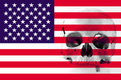 American flag with human skull Royalty Free Stock Images