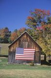 American Flag Hung on Old Barn, Vermont Royalty Free Stock Photo