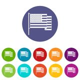 American flag icons set flat vector Stock Photography