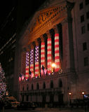 American flag illuminations. On Christmas Eve on New York Stock Exchange building Stock Photography