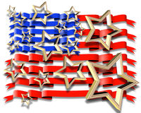 American Flag illustration 3D Stock Photo