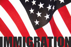 American flag with immigration word. The word 'immigration' on a U.S. flag royalty free stock images