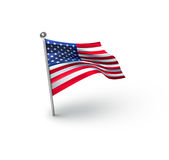 American Flag for Independence Day. American Flag against white background for Independence Day Royalty Free Stock Photos