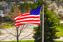 American flag and industrial background Royalty Free Stock Photo