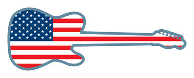 Guitar Shaped U.S. Flag Stock Images