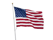 American flag isolated on white with clipping path. An American flag flying in the breeze isolated on white with a clipping path stock photography