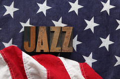 American flag with jazz word Royalty Free Stock Photography