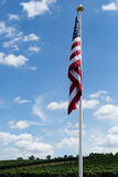 American Flag with Landscape Stock Photo
