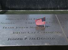 American Flag left at the National September 11 Memorial at Ground Zero in Lower Manhattan Royalty Free Stock Photos