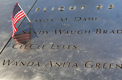 American Flag left at the National September 11  Memorial at Ground Zero in Lower Manhattan Stock Photo