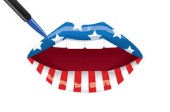 American flag lips painting Stock Photography