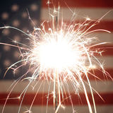 American flag lit up by sparklers for 4th of July celebrations Royalty Free Stock Image