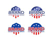 American flag logo templates royalty free stock images