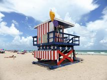 American flag lookout tower Stock Images