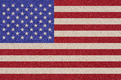 American flag made ​​of colored decorative sand. Royalty Free Stock Photo