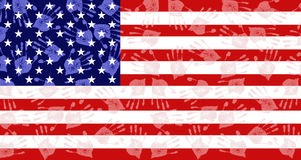 American flag made of hands Stock Photo