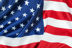 American flag made of silk Close-up background Stock Photography