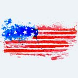 American flag made with watercolor. Vector vector illustration