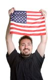 American Flag Man. Young man holding american flag Stock Photos