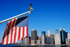 American flag in Manhattan. American flag and eagle with Manahttan skyline Stock Photos
