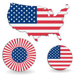 The American flag and map Royalty Free Stock Photos