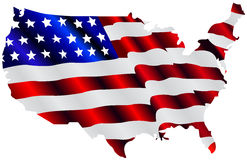 American Flag Map. A illustration of an American flag in the shape of the geographical map of USA, isolated on white background Royalty Free Stock Photos