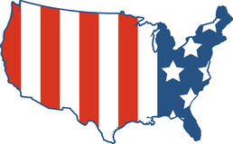 American Flag Map Stock Image