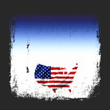 American Flag Map Grunge. Background with the map of America shaped into the United States Of America flag in red, white, and blue all in a vintage grunge style stock illustration