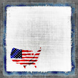 American Flag Map Grunge. Background border frame with the map of America shaped into the United States Of America flag in red, white, and blue all in vintage royalty free illustration