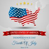 American Flag map for Independence Day Stock Photo