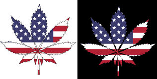 American Flag. Marijuana American Flag - isolated and on black background Stock Photography