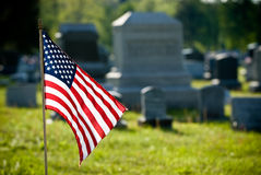 American flag on memorial day. American flag at gravesite on memorial day Royalty Free Stock Image