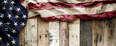 American flag for Memorial day or Veteran`s day background. Vintage red, white, and blue American flag for Memorial day or Veteran`s day background Stock Image