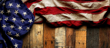American flag for Memorial day or Veteran`s day background. Vintage red, white, and blue American flag for Memorial day or Veteran`s day background Royalty Free Stock Images