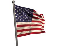 American flag on metal pole. Against white background Royalty Free Stock Photos