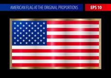 American flag in a metallic gold frame Stock Photos