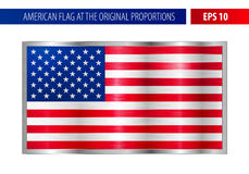 American flag in a metallic silver frame stock illustration