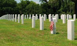 American Flag on Military Grave Stock Photos